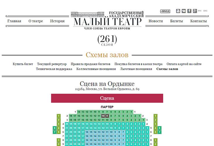 Академический малый театр схема зала